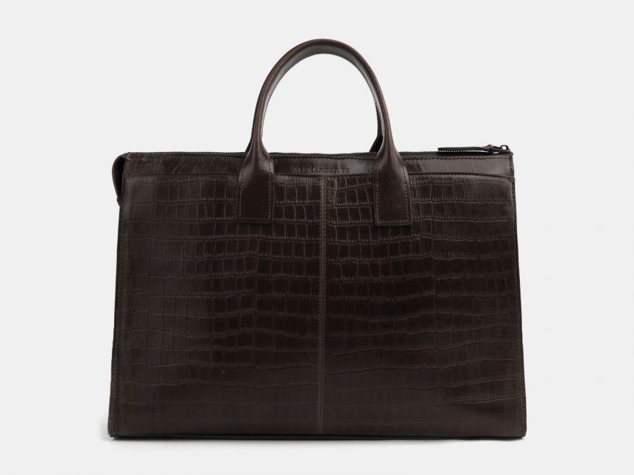 Кожаная мужская сумка из натуральной кожи Alexander-TS «PF0023 Brown Croco»