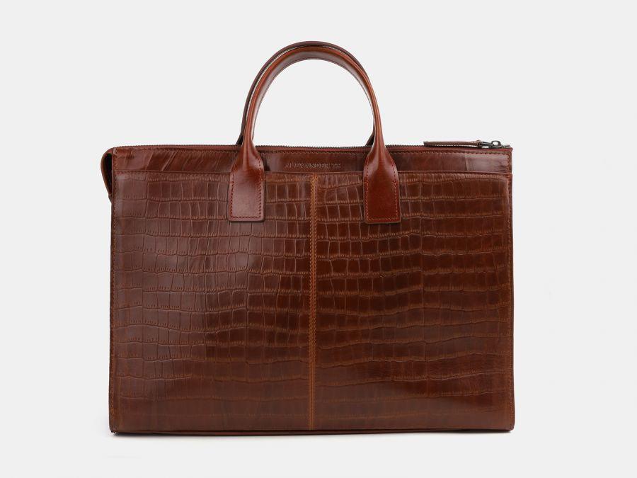 Кожаная мужская сумка из натуральной кожи Alexander-TS «PF0023 Cognac Croco»