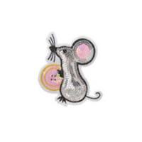 Термо-аппликация Мышка с пуговицей в пайетках 80 мм х 80 мм (TBY-2148)