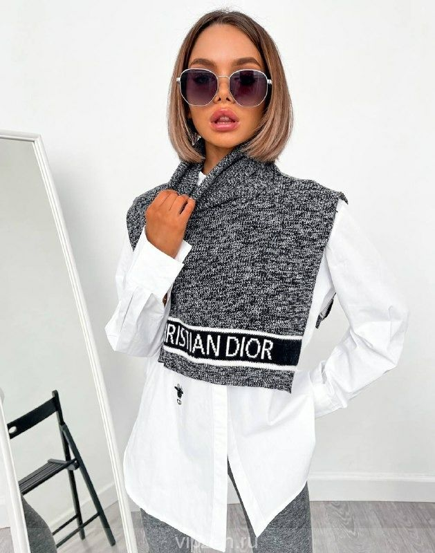 Удлиненная рубашка с вязаным нагрудником Dl0R