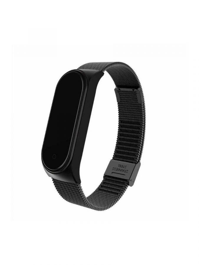 Браслет для Xiaomi Mi Band 3/4 миланская петля магнитный замок (черный)