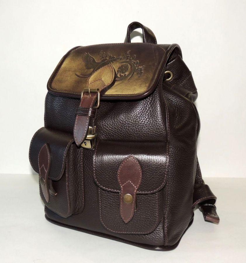 """Рюкзак кожаный коричневый  """"Эльза"""""""