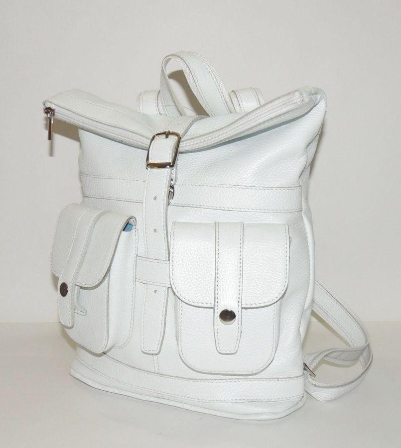 """Белый кожаный рюкзак  """"Рио-Гранде"""""""