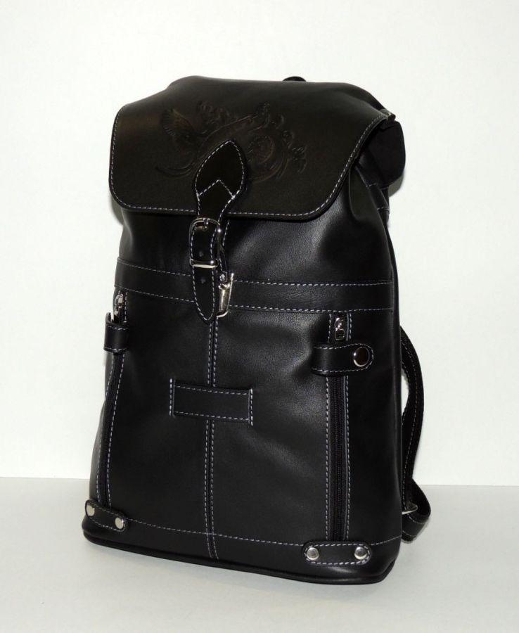 """Черный кожаный рюкзак  """"Глория"""""""