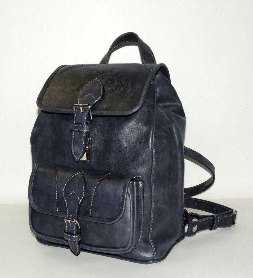 """Синий кожаный рюкзак  """"Селия"""""""