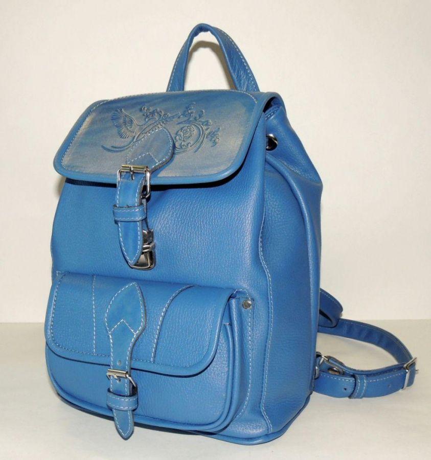 """Голубой кожаный рюкзак женский  """"Василек"""""""