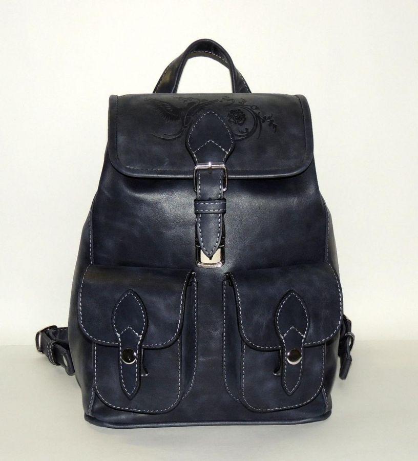 """Синий кожаный женский рюкзак  """"Тринити"""""""