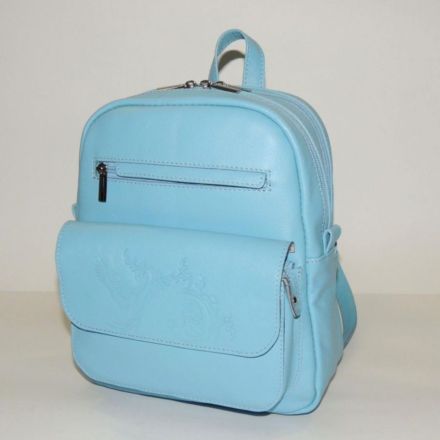 """Голубой кожаный рюкзак  """"Риана"""""""