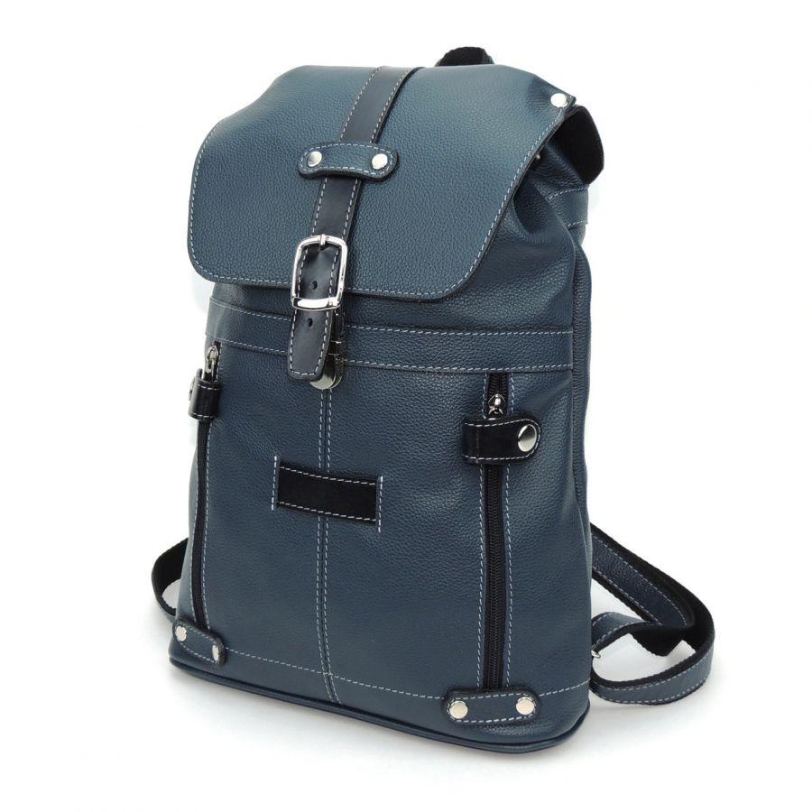 """Синий кожаный рюкзак  """"Крис"""""""