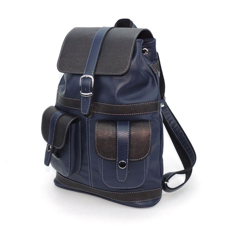 """Синий кожаный рюкзак  """"Никта"""""""