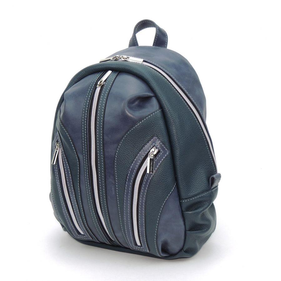"""Синий кожаный рюкзак  """"Роса"""""""