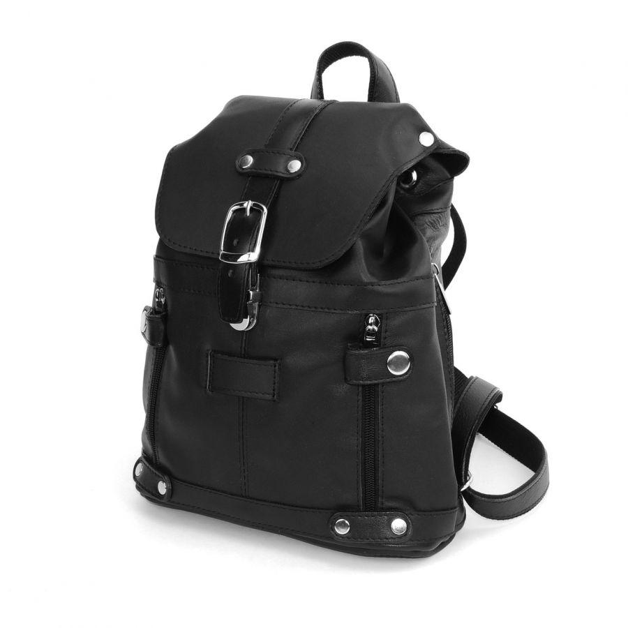 """Черный кожаный рюкзак  """"Виталия"""""""
