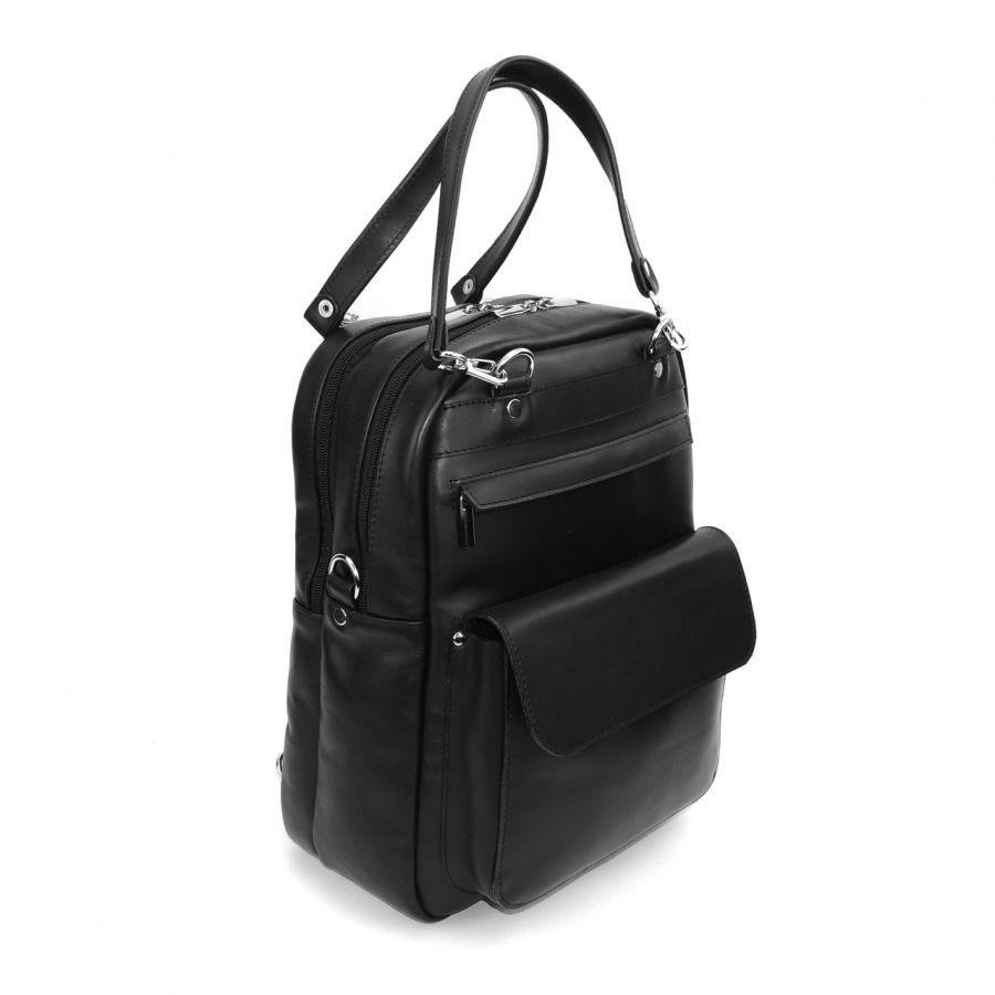 """Черная кожаная сумка-рюкзак  """"Монте"""""""