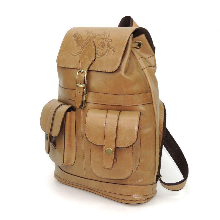 """Бежевый кожаный рюкзак  """"Арахис"""""""