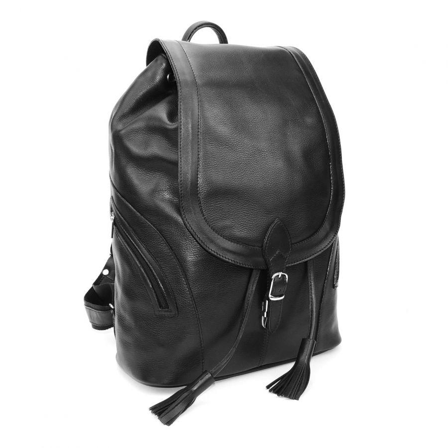 """Рюкзак кожаный черный увеличенный  """"Жаклин"""""""