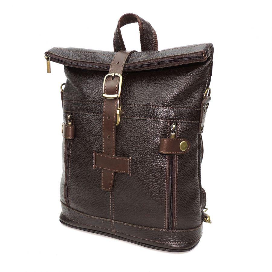 """Коричневая кожаная сумка-рюкзак  """"Рената"""""""