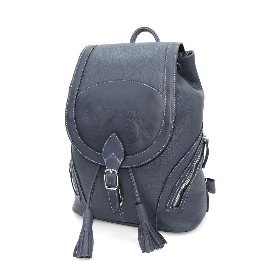 """Синий кожаный рюкзак  """"Аркадия"""""""