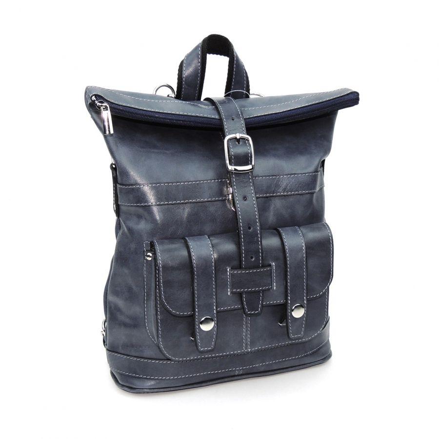 "Синяя кожаная сумка-рюкзак  ""Мистери"""