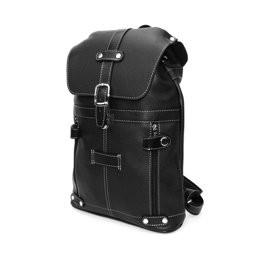 """Черный кожаный рюкзак  """"Ночь"""""""