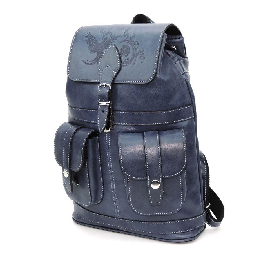 """Кожаный рюкзак женский синий  """"Джинс"""""""