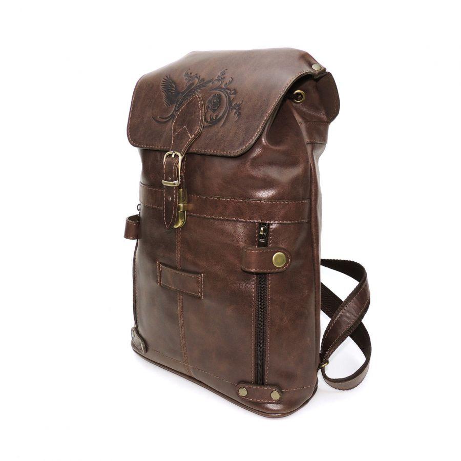 """Коричневый кожаный рюкзак  """"Молочный шоколад"""""""