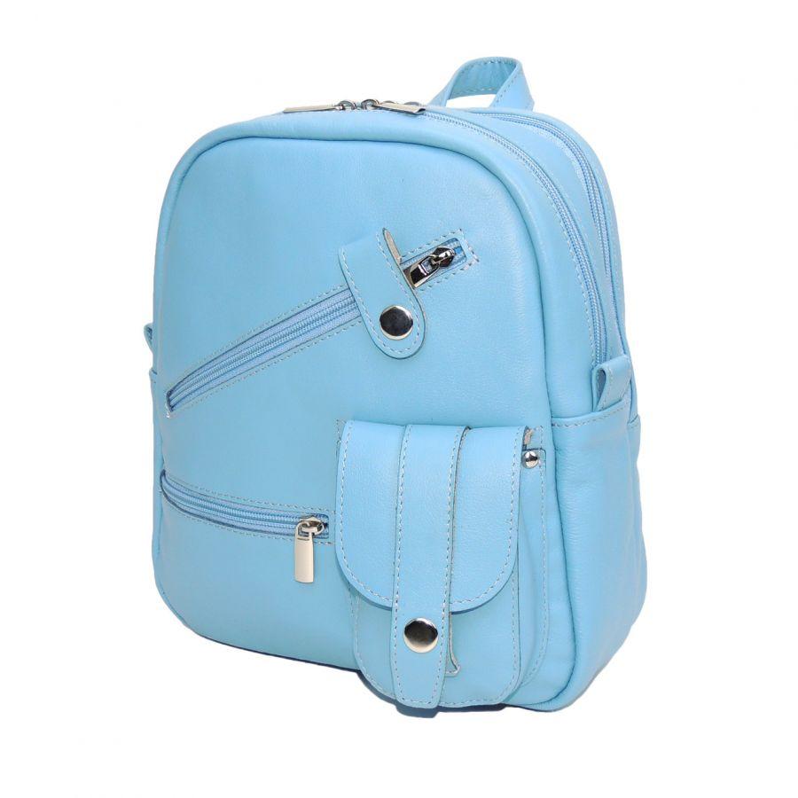 """Рюкзак кожаный голубой  """"Эдна"""""""