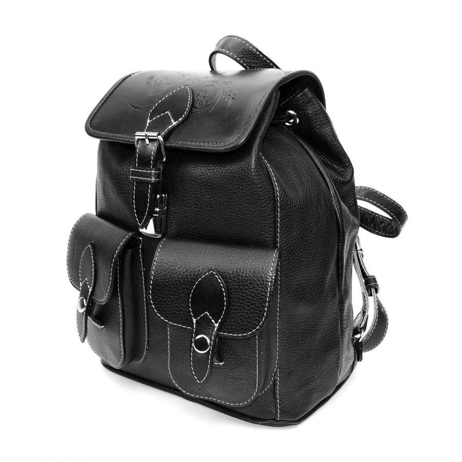 """Черный кожаный рюкзак  """"Антрацит"""""""