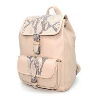 """Розовый кожаный рюкзак женский  """"Экрю"""""""