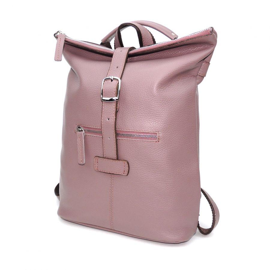"Сиреневая кожаная сумка-рюкзак  ""Тая"""