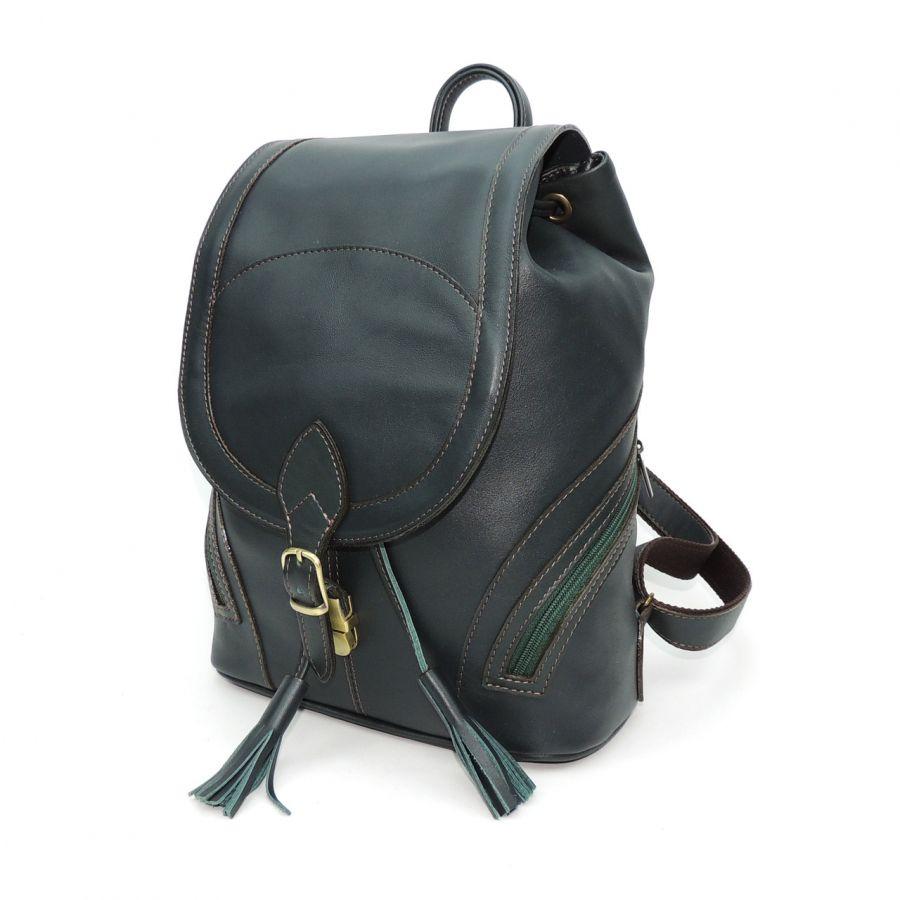 "Рюкзак кожаный зелёный  ""Жанна"""