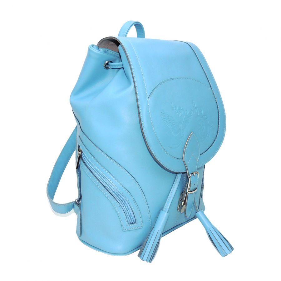 """Голубой кожаный рюкзак женский  """"Адель"""""""