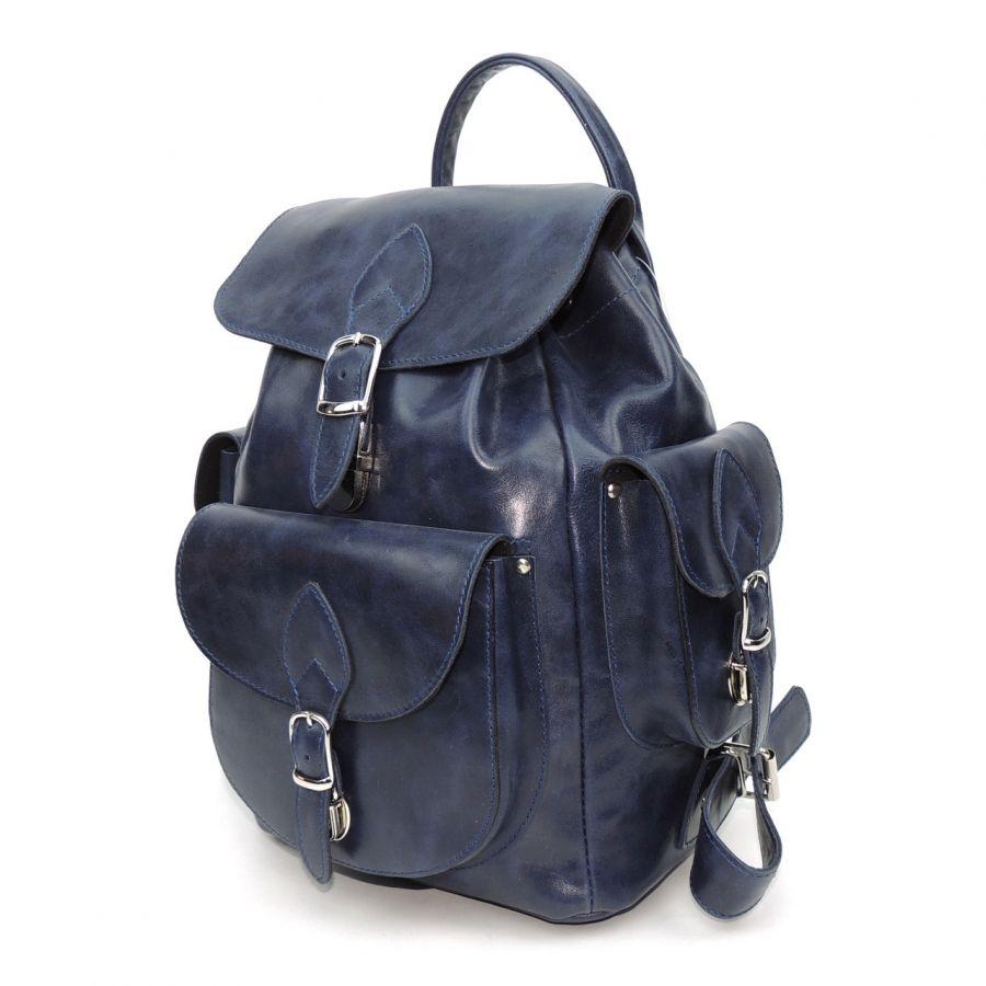 """Рюкзак кожаный женский синий  """"Сельма"""""""