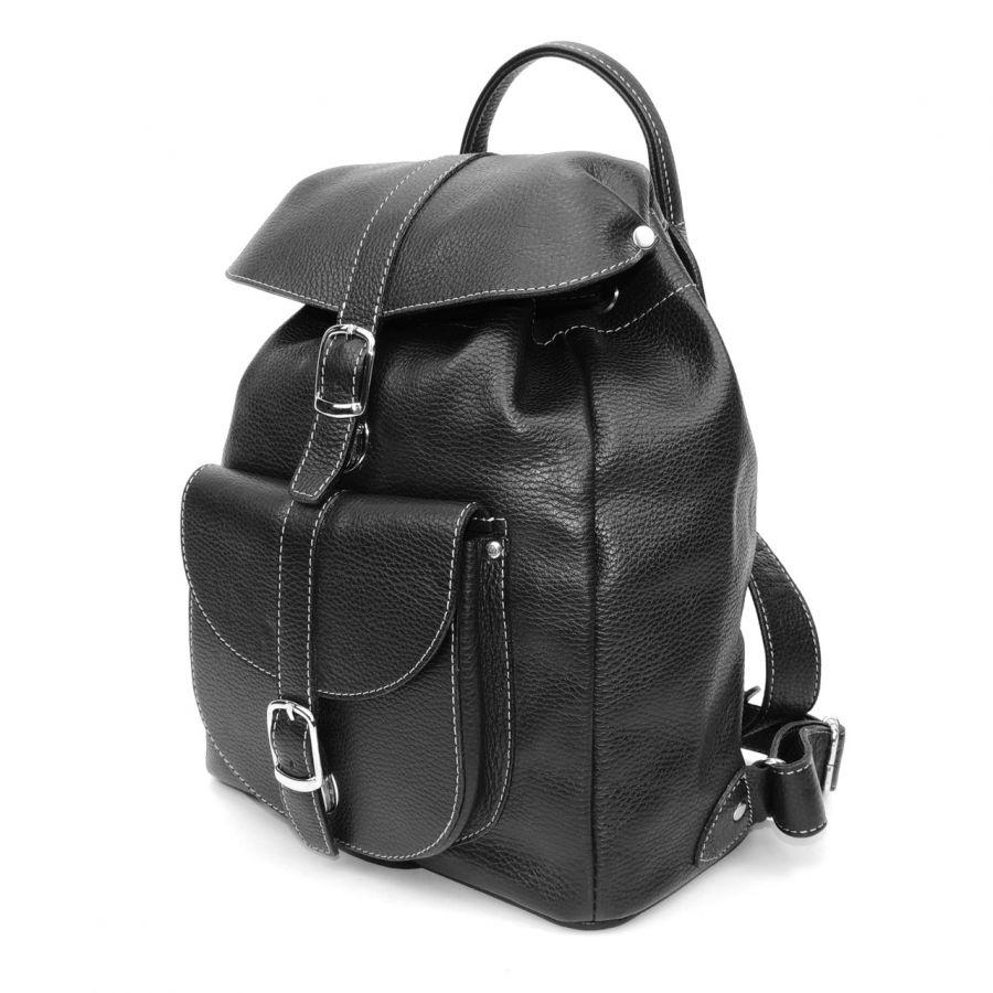 """Рюкзак кожаный черный женский  """"Альба"""""""