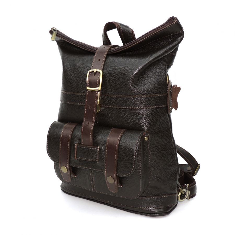 """Коричневая кожаная сумка-рюкзак  """"Чэро"""""""