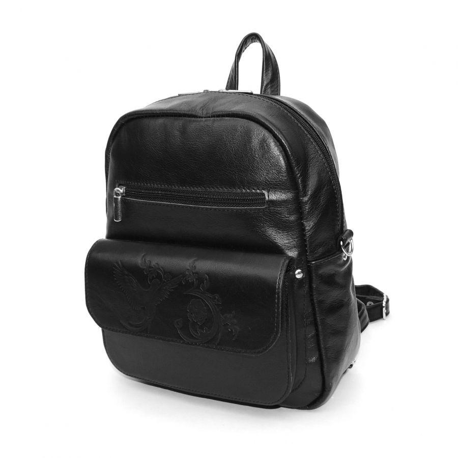 """Рюкзак-сумка кожаный черный  """"Соло"""""""