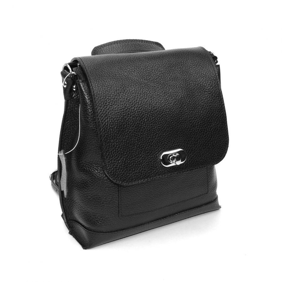 """Черная кожаная женская сумка рюкзак  """"Глория"""""""