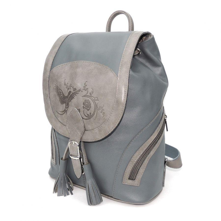 """Серый кожаный рюкзак  """"Тори"""""""