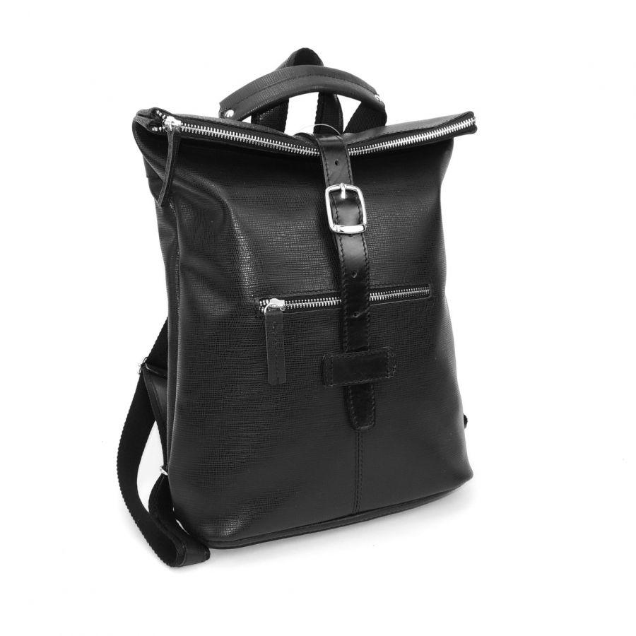 """Черная кожаная сумка-рюкзак  """"Авеню"""""""