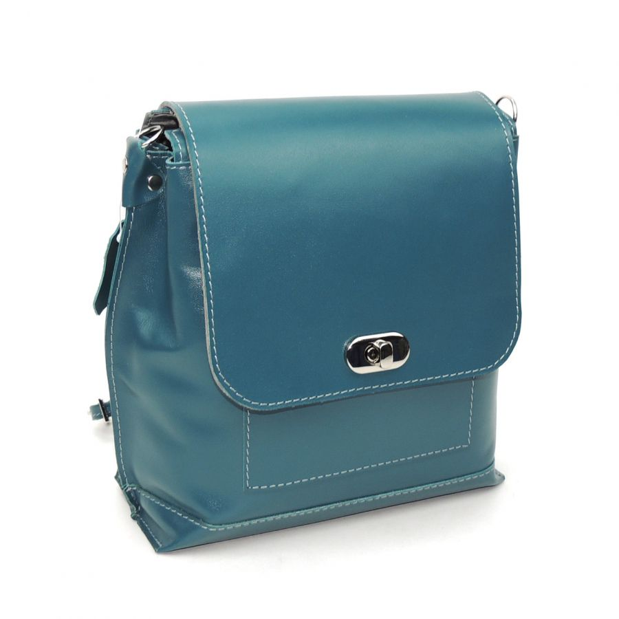 "Голубая кожаная сумка-рюкзак  ""Сабрина"""