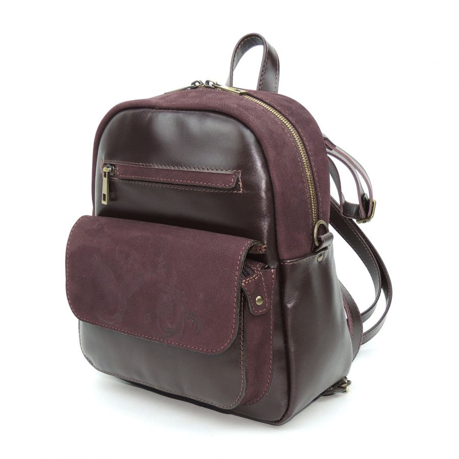 """Бордовая кожаная сумка-рюкзак  """"Николетта"""""""