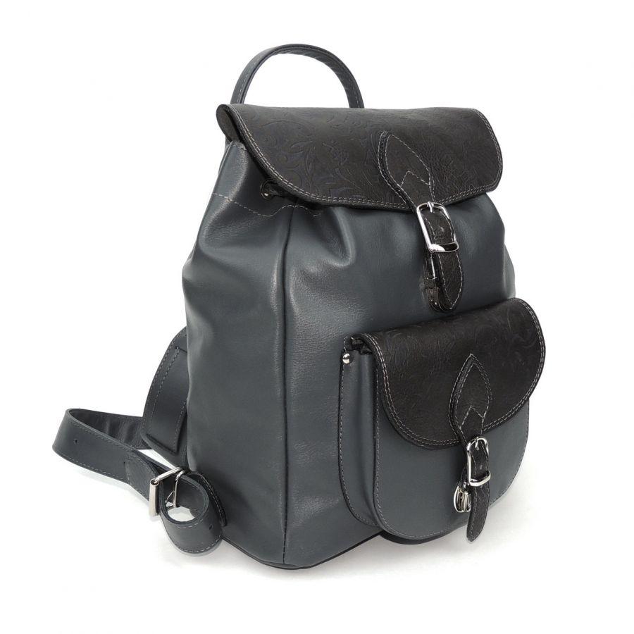 """Серый кожаный рюкзак  """"Леонора"""""""