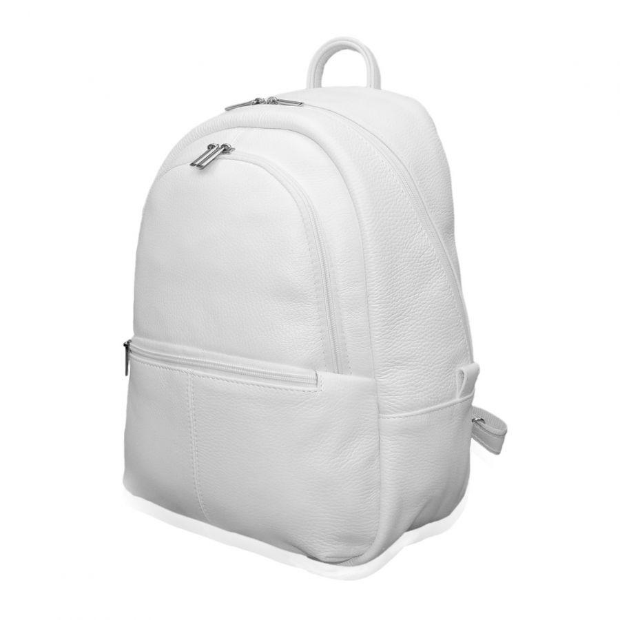 "Белый кожаный рюкзак  ""Канти"""