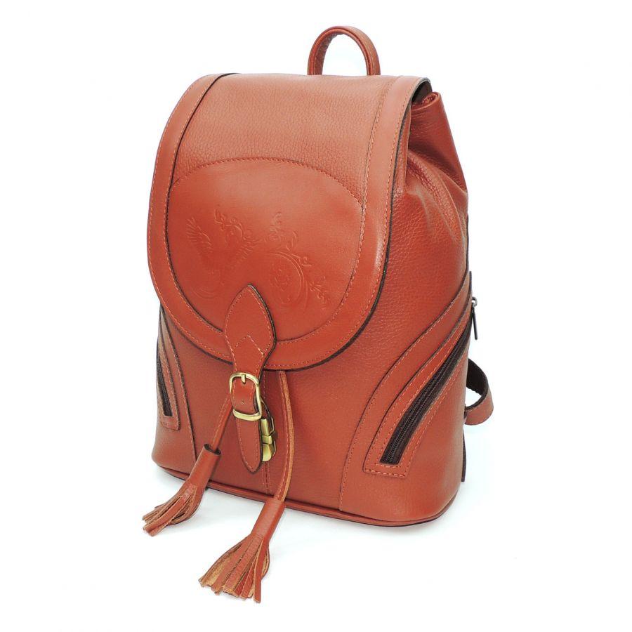 """Рюкзак кожаный оранжевый  """"Валлетта"""""""