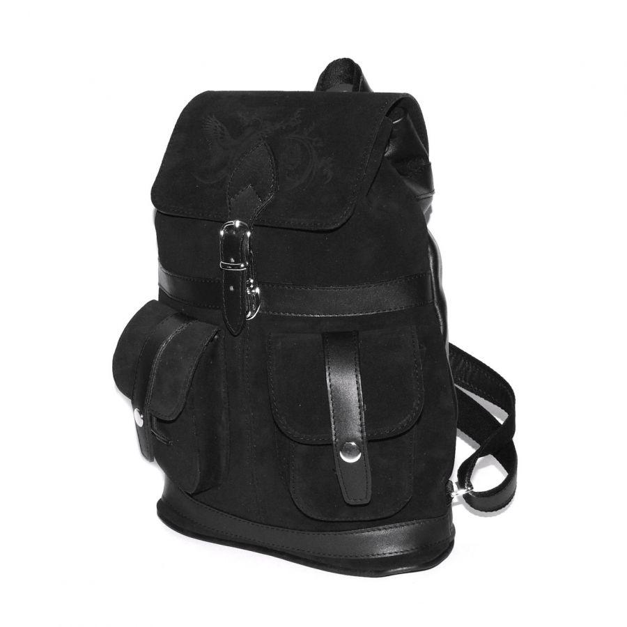"""Черный замшевый рюкзак  """"Парижанка"""""""