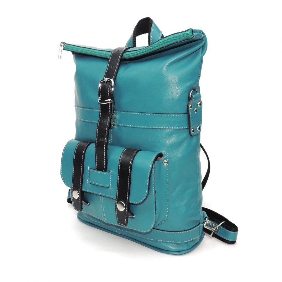 """Голубая сумка-рюкзак кожаная  """"Микс"""""""