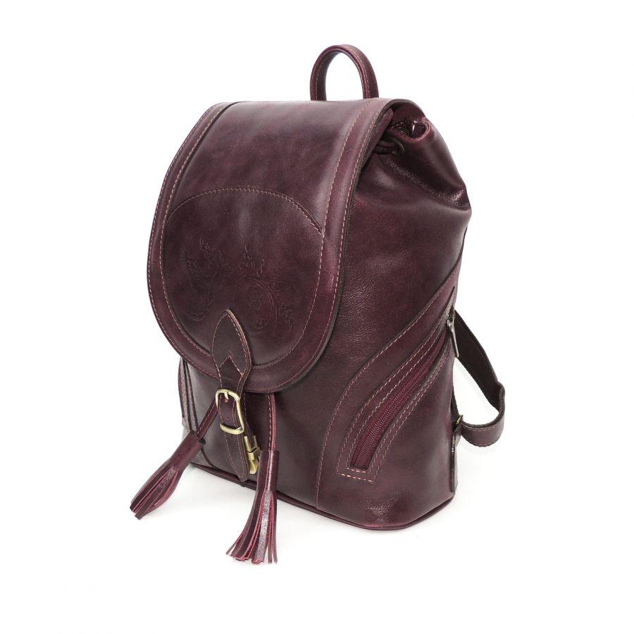 """Рюкзак кожаный вишневый  """"Климин"""""""