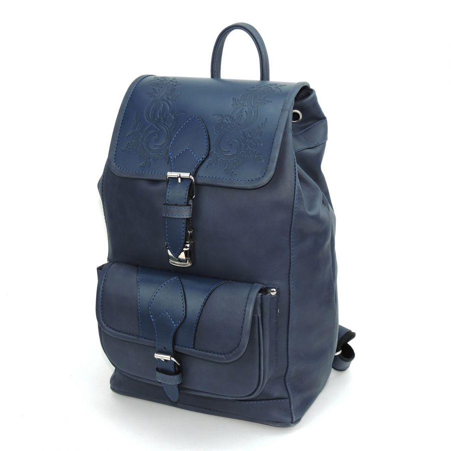 """Синий кожаный рюкзак  """"Вирджиния"""""""