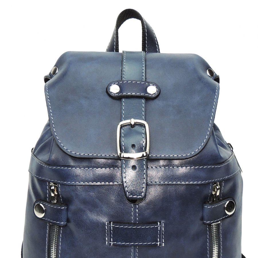 """Синий кожаный рюкзак  """"Моник"""" Никель (серебрянный цвет)"""
