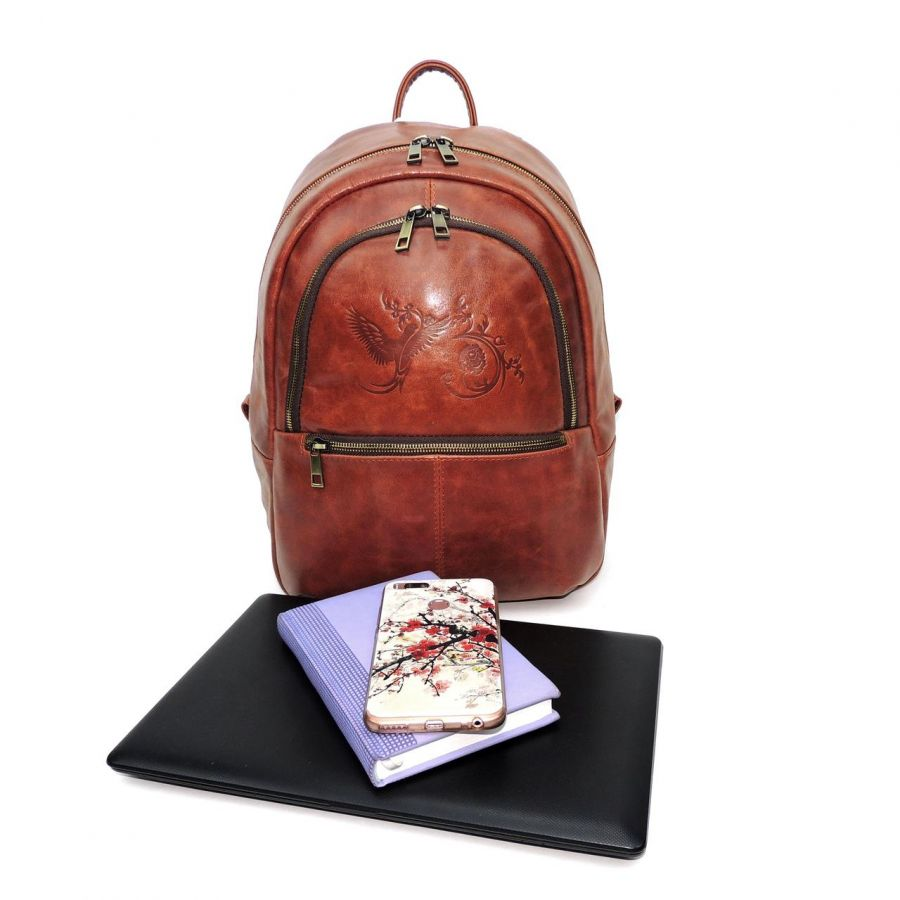 """Оранжевый кожаный рюкзак  """"Като"""""""