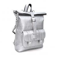 """Серебряная кожаная сумка-рюкзак  """"Селена"""""""